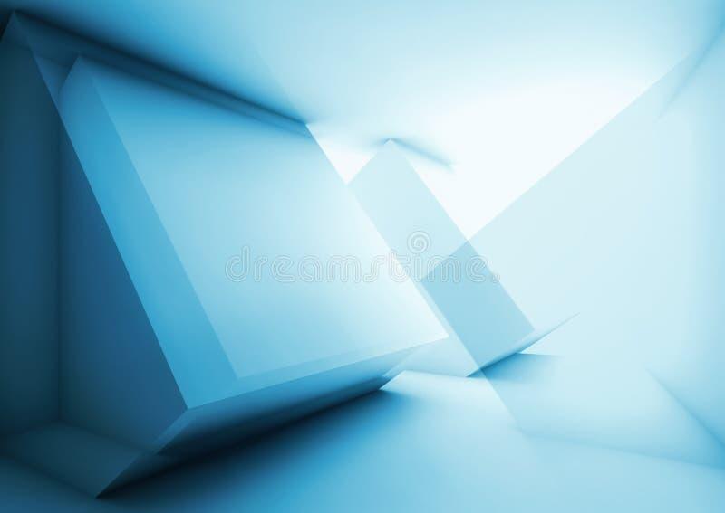 Abstracte blauwe high-tech digitale 3d achtergrond, royalty-vrije illustratie