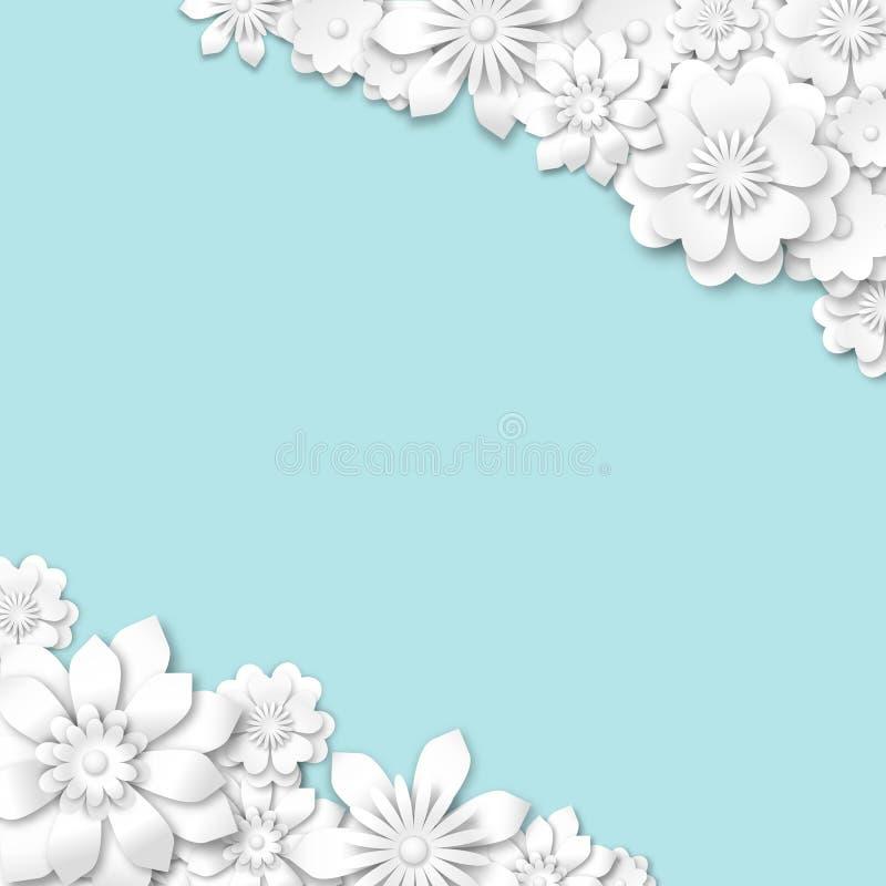 Abstracte blauwe huwelijksachtergrond met witte 3d bloemen vector illustratie