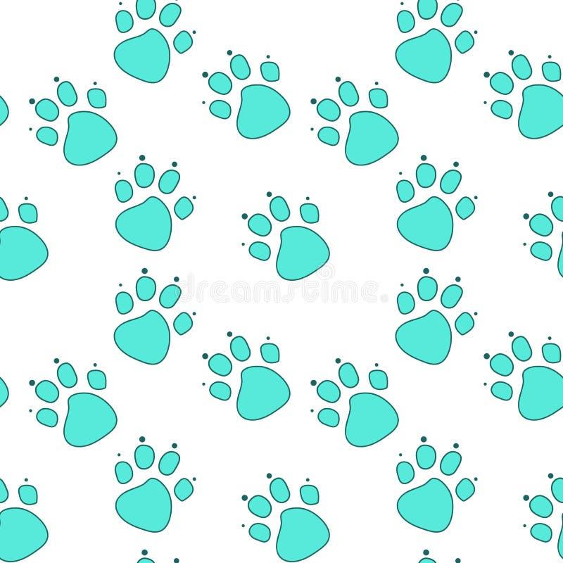Abstracte blauwe kattenvoetafdruk in turkoois overzicht op witte achtergrond royalty-vrije illustratie