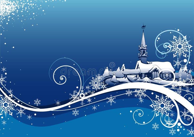 Abstracte Blauwe Kerstmis Bckg stock illustratie