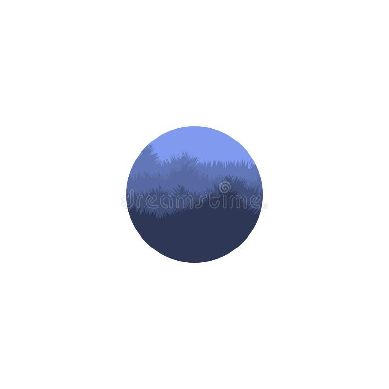abstracte blauwe kleur om vormberg met bomenembleem royalty-vrije illustratie