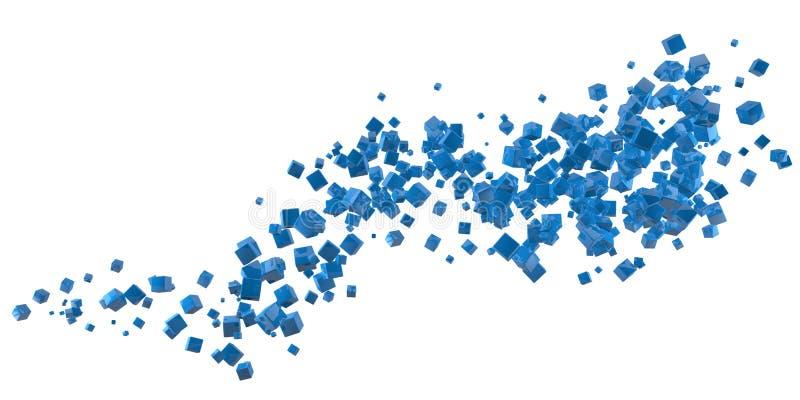Abstracte blauwe kubussenstroom royalty-vrije illustratie
