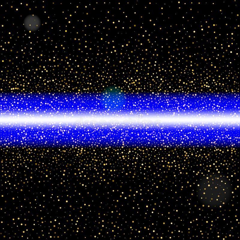 Abstracte blauwe laserstraal Geïsoleerde op zwarte achtergrond Vector i royalty-vrije illustratie