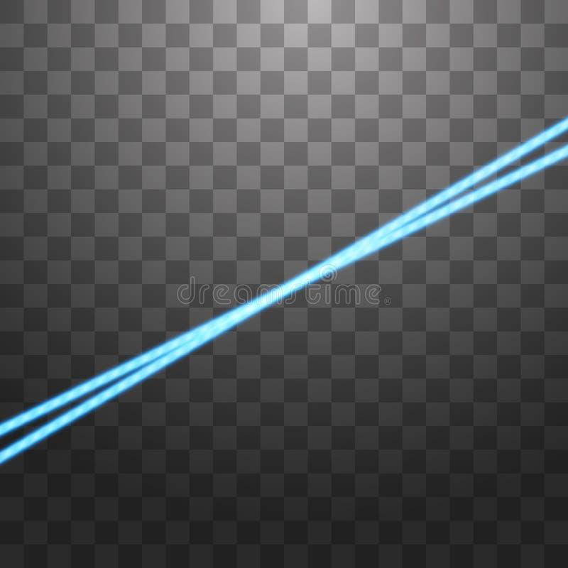 Abstracte blauwe laserstraal Ge?soleerd op transparante zwarte achtergrond Vector illustratie royalty-vrije illustratie