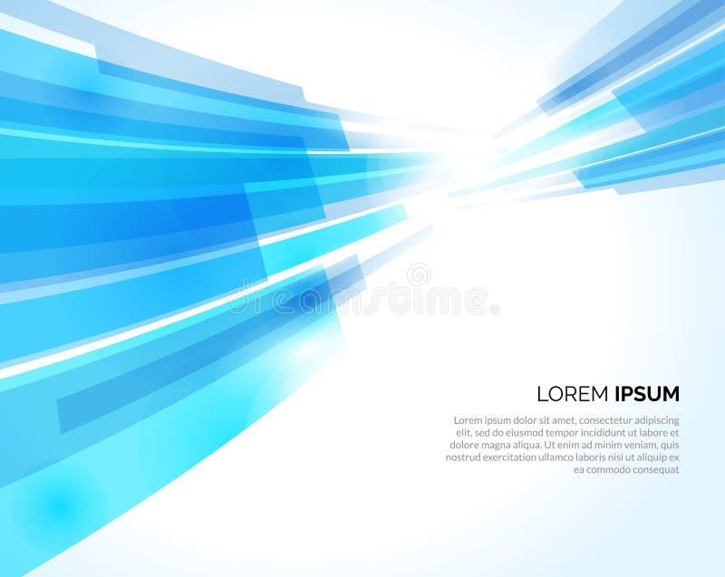 Abstracte blauwe lijnen lichte bedrijfsachtergrond Vector illustratie stock illustratie