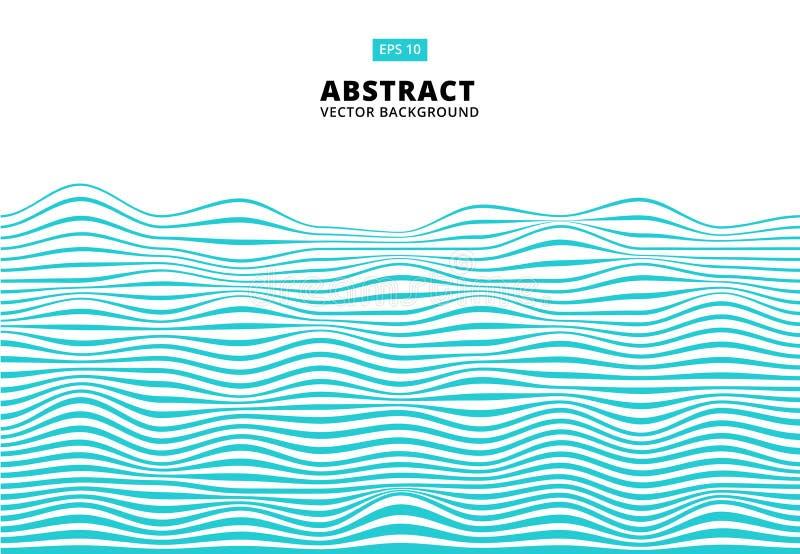 Abstracte blauwe lijnengolf, Golvend strepenpatroon, Ruwe oppervlakte, V vector illustratie