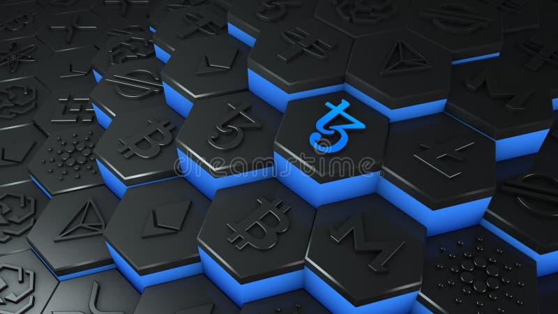 Abstracte blauwe munt van Tezos cryptocurrency met een verstekettingnetwerkverbinding in een conceptuele 3d-illustratie met een v royalty-vrije illustratie