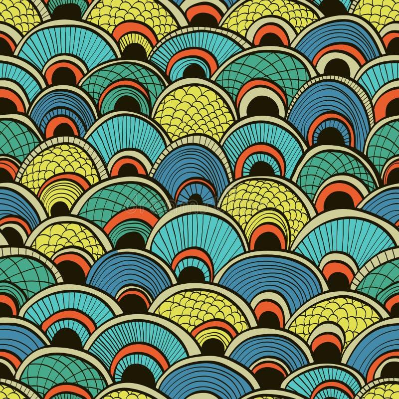Abstracte blauwe naadloos met vissenschalen vector illustratie
