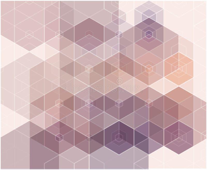 Abstracte blauwe, purpere kleuren hexagon achtergrond Vector geometrisch patroon met gradiënt vector illustratie