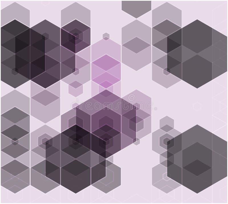 Abstracte blauwe, purpere kleuren hexagon achtergrond Vector geometrisch patroon met gradiënt I royalty-vrije illustratie