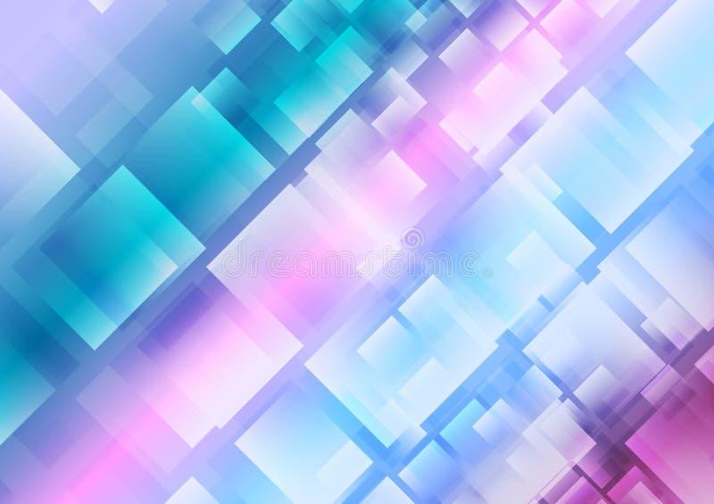 Abstracte blauwe purpere vierkantenachtergrond vector illustratie