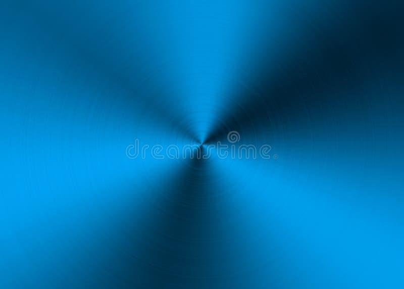 Abstracte Blauwe Radiale Geborstelde Metaaloppervlakte voor Achtergrond stock afbeelding