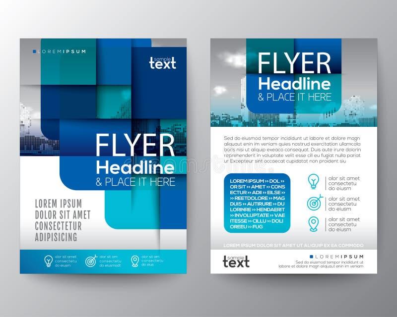 Abstracte blauwe ronde vierkante grafische achtergrond voor Brochuredekking stock illustratie