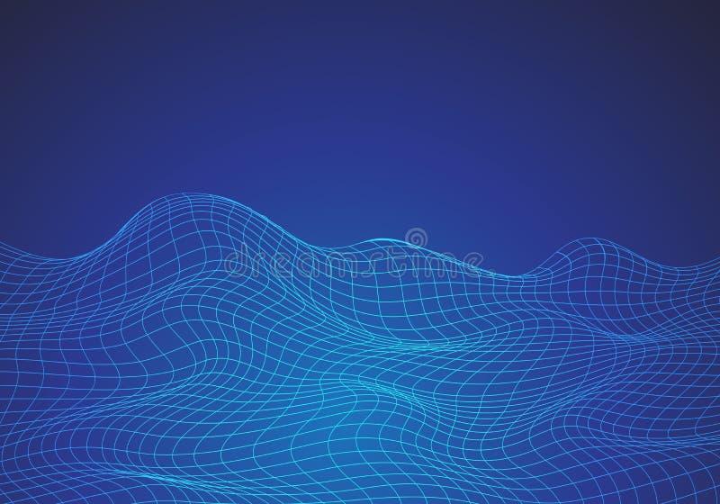 Abstracte blauwe van de de achtergrond golf digitale grafische technologie van het lijnnetwerk textuurvector stock illustratie