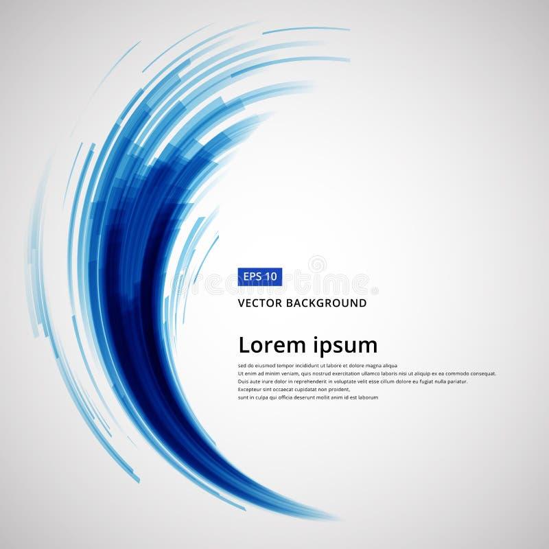 Abstracte blauwe van de de cirkelwerveling van de lijnenkromme de technologievector royalty-vrije illustratie