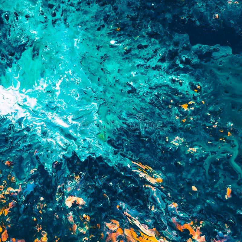 Abstracte blauwe van de overzeese de kunstachtergrond bezinningsverf stock foto