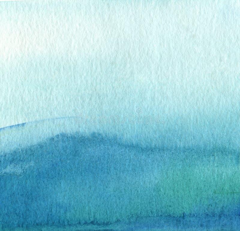 Abstracte blauwe waterverf geschilderde achtergrond royalty-vrije stock afbeelding