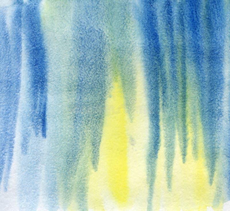 Abstracte blauwe waterverfachtergrond Hand geschilderde illustratie op een geweven document royalty-vrije illustratie