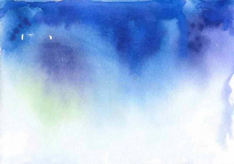 Abstracte blauwe waterverfachtergrond ruimte vector illustratie