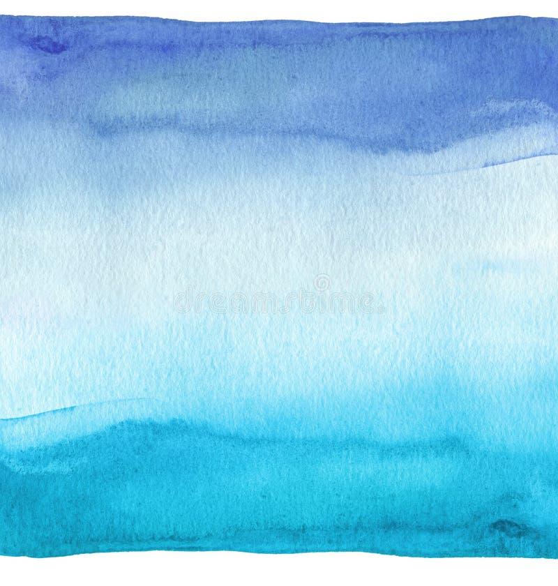 Abstracte blauwe waterverfhand geschilderde achtergrond Geweven document stock illustratie
