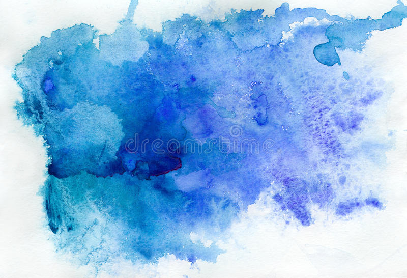 Abstracte blauwe waterverf stock illustratie