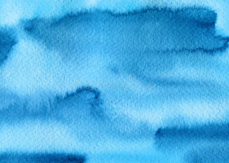 Abstracte blauwe waterverfplonsen, dalingen, de achtergrond van borstelvlekken Hand geschilderde textuur voor dekking, verpakking stock illustratie