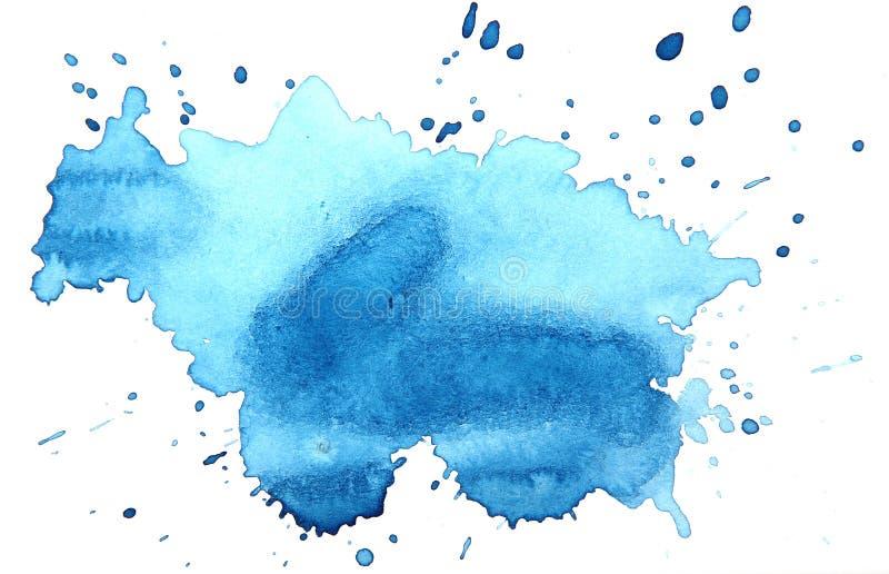 Abstracte Blauwe waterverfvlek met druppeltjes, smudges, vlekken, plonsen Kleurrijke veelkleurige vlek in grungestijl vector illustratie