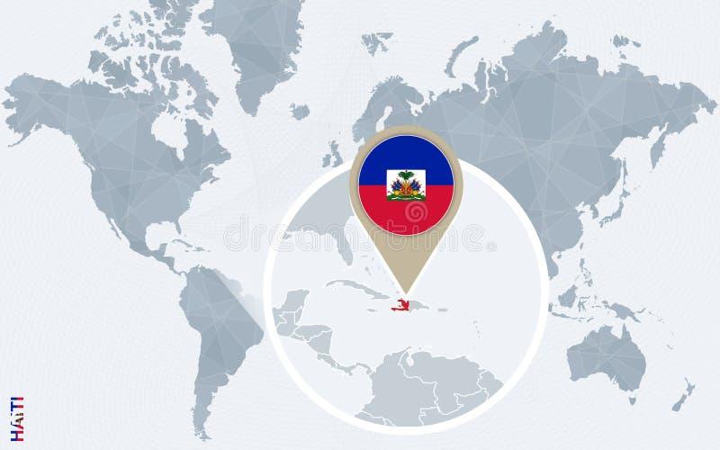 Abstracte blauwe wereldkaart met overdreven Haïti vector illustratie