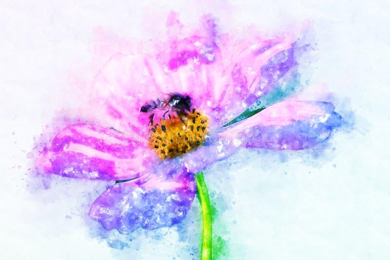 Abstracte bloem die op kleurrijke waterverf het schilderen achtergrond bloeien vector illustratie