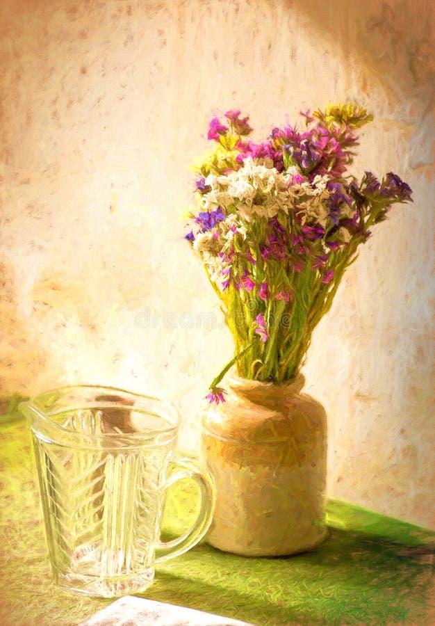 Abstracte bloemen in een vaas stock afbeelding