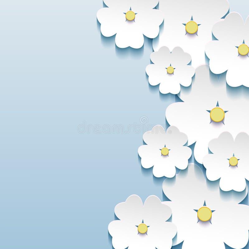 Abstracte bloemen elegante achtergrond met 3d bloemensakura vector illustratie