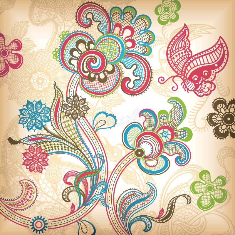 Abstracte Bloemen en Vlinder vector illustratie