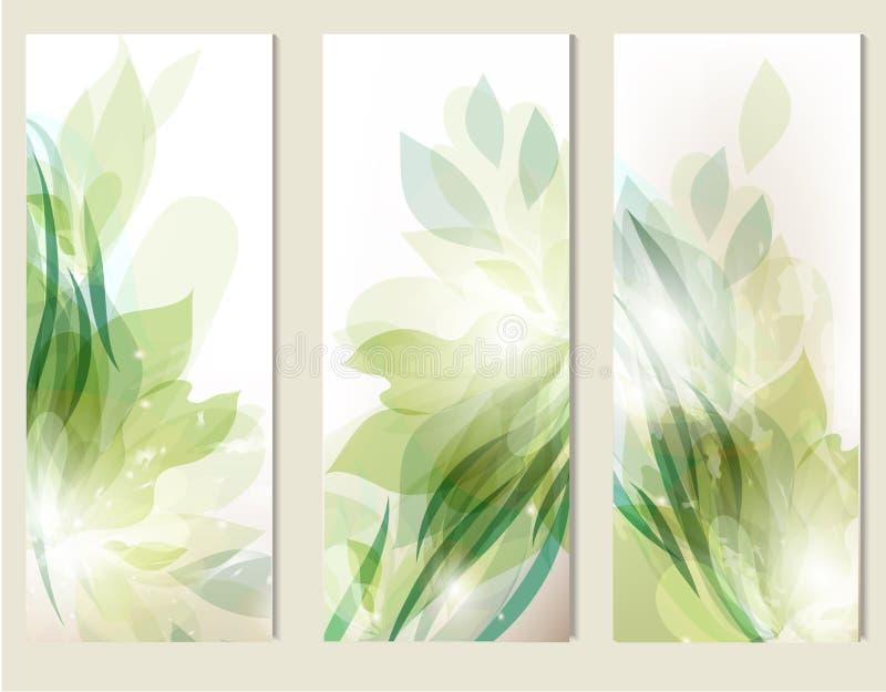 Abstracte bloemen geplaatste achtergronden royalty-vrije illustratie