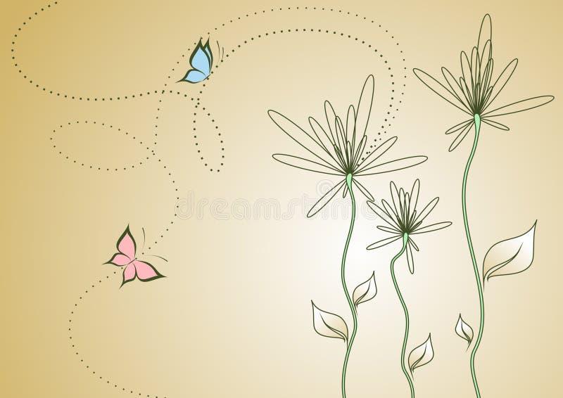 Abstracte bloemen met vlinders vector illustratie