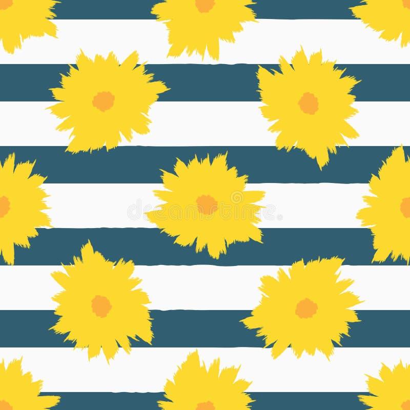 Abstracte bloemen op gestreepte achtergrond Modieus bloemen naadloos patroon vector illustratie