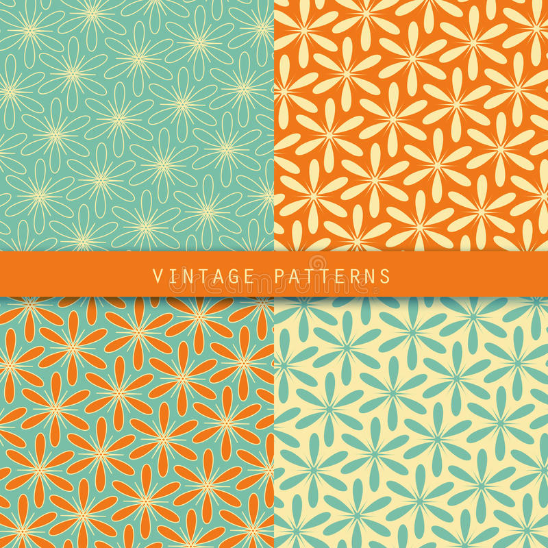 Abstracte bloemen retro geplaatste patronen Uitstekende stijlkleur Kan voor kaartontwerp, behang worden gebruikt, vult het patroo stock illustratie