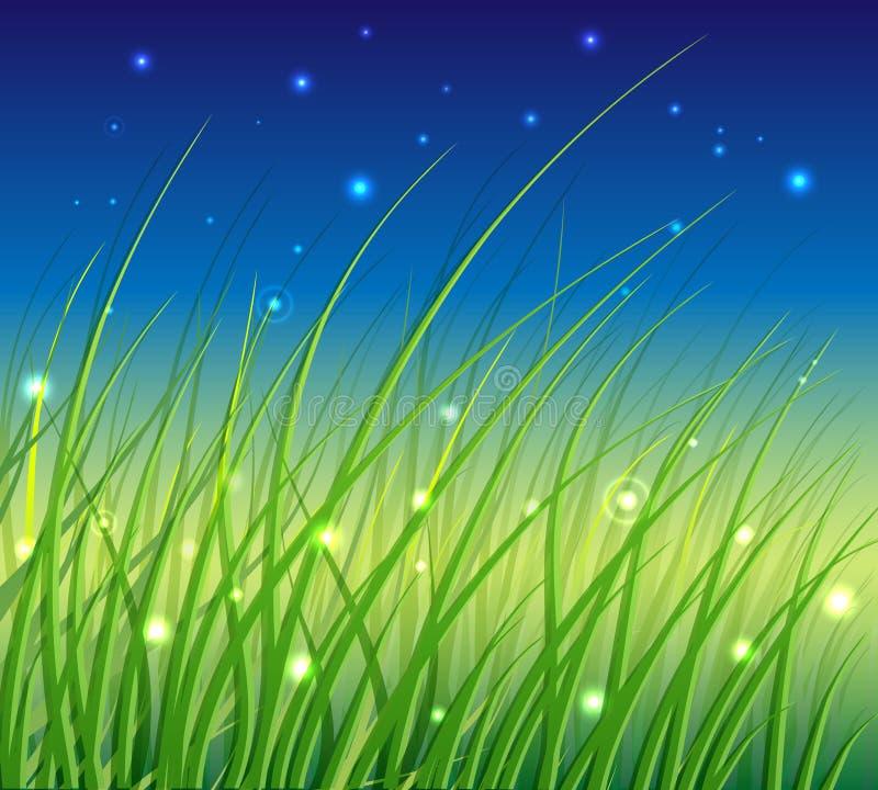 Abstracte Bloemen VectorAchtergrond met Gras royalty-vrije illustratie