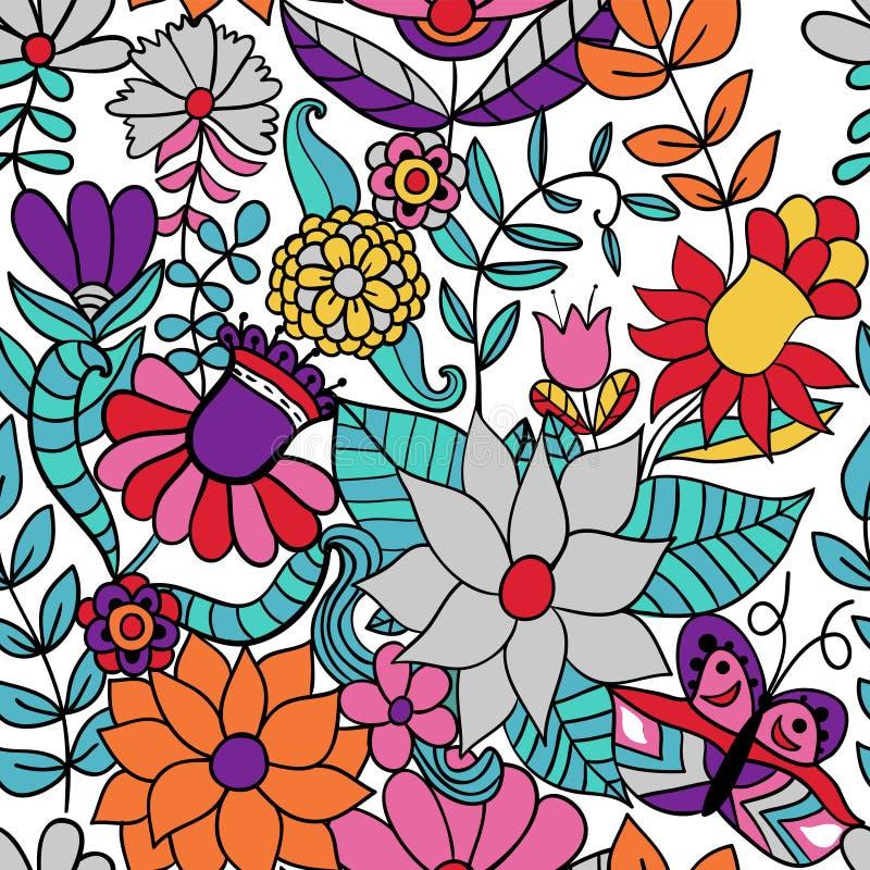 Abstracte bloemenachtergrond, het naadloze patroon van het de zomerthema, vecto vector illustratie
