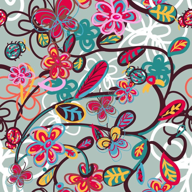 Abstracte bloemenachtergrond met onzelieveheersbeestje vector illustratie