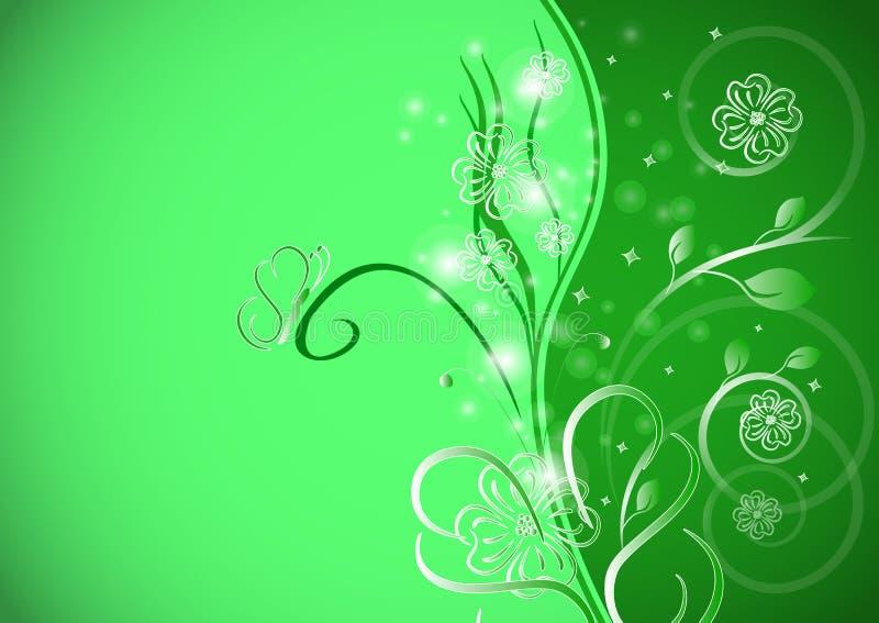Abstracte bloemenachtergrond met vlinder vector illustratie