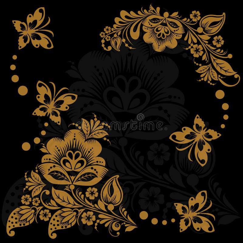 Abstracte bloemenachtergrond met vlinders stock illustratie