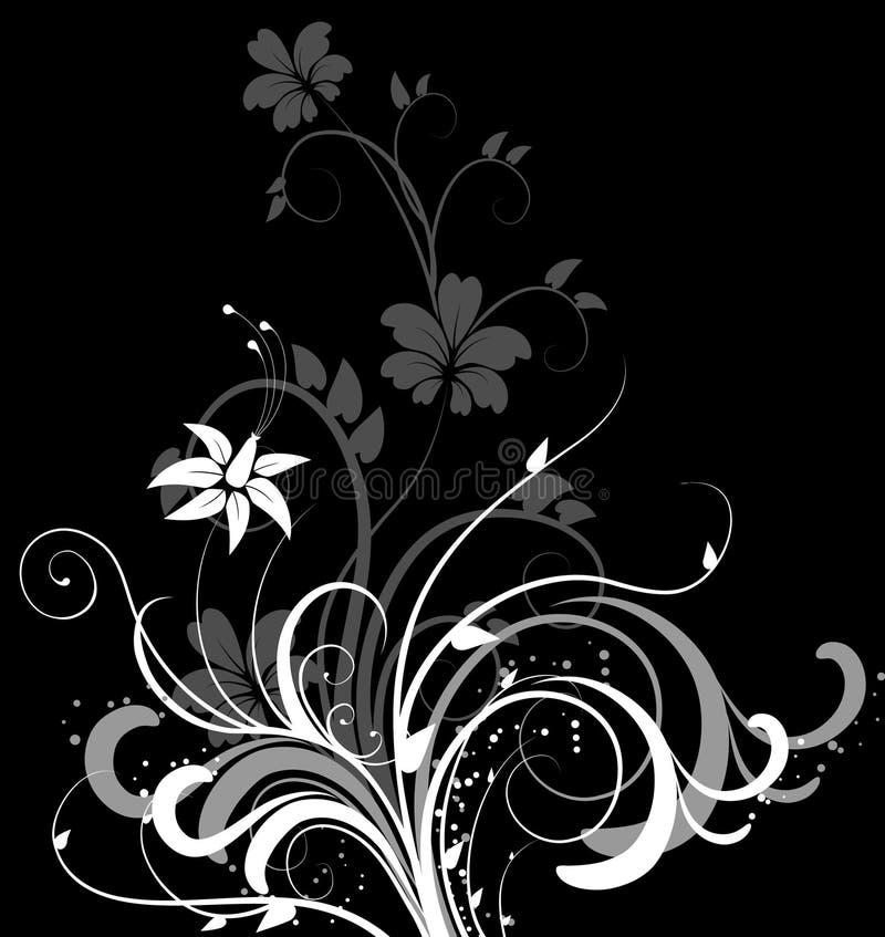 Abstracte bloemenachtergrond op zwarte stock illustratie