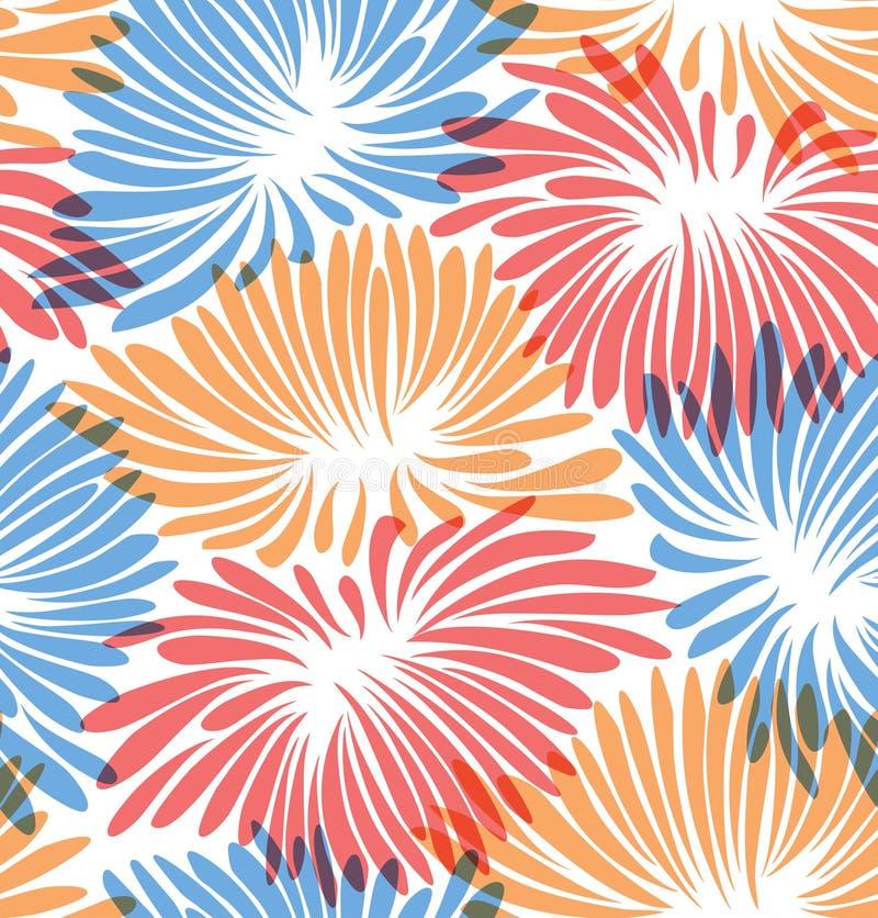 Abstracte bloemenachtergrond Patroon met decoratieve chrysanten stock illustratie