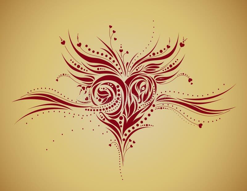 Abstracte bloemenhartvorm - grunge stijl royalty-vrije illustratie