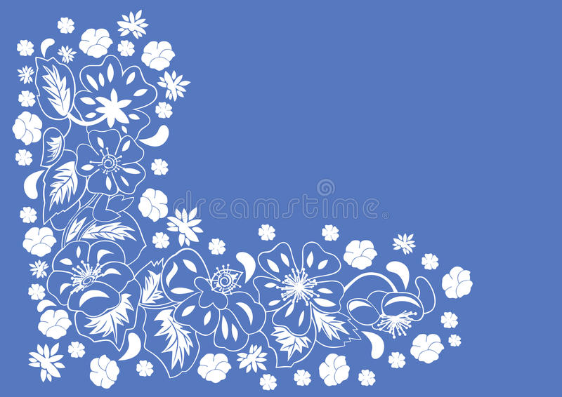 Abstracte bloemenhoek met blauwe achtergrond royalty-vrije illustratie
