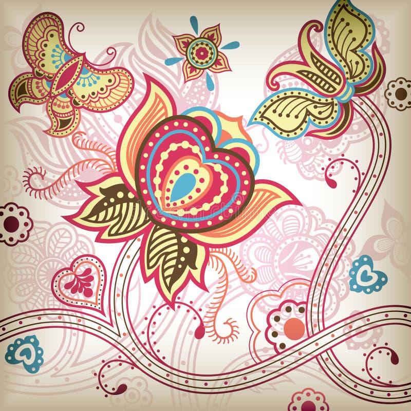 Abstracte BloemenVlinder vector illustratie