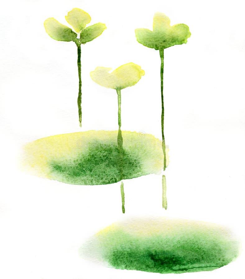Abstracte bloemenwaterverf royalty-vrije illustratie