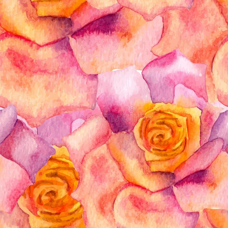 Abstracte bloemenwaterverf naadloze achtergrond stock illustratie