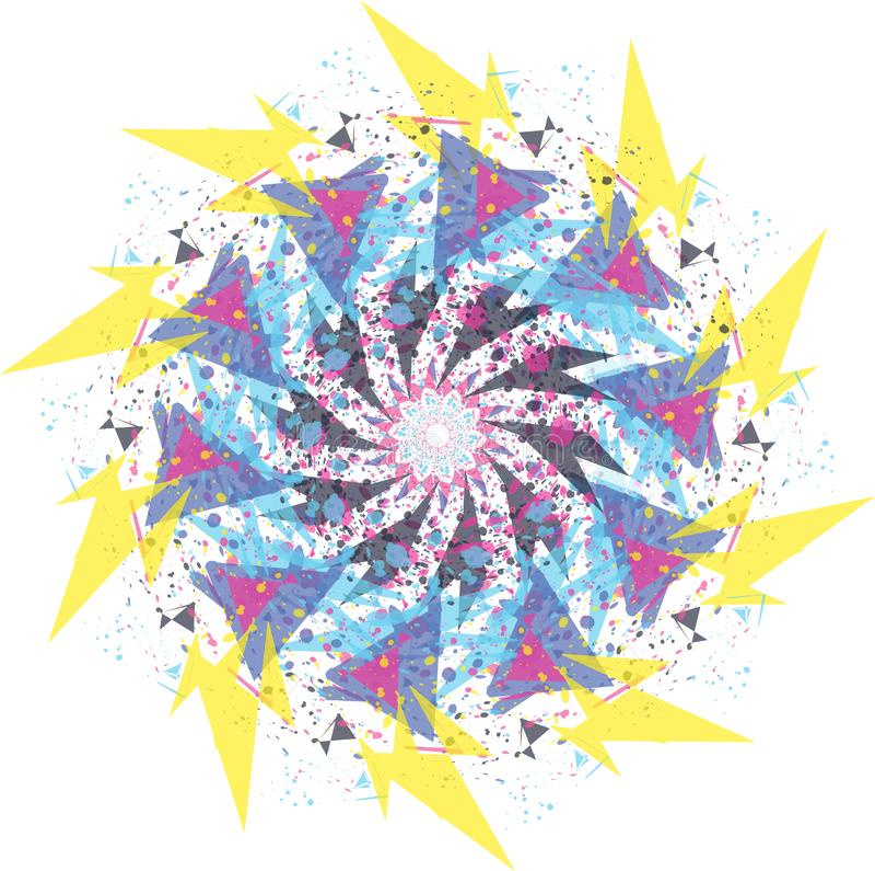 abstracte bloempastelkleur om mandalaornament stock illustratie