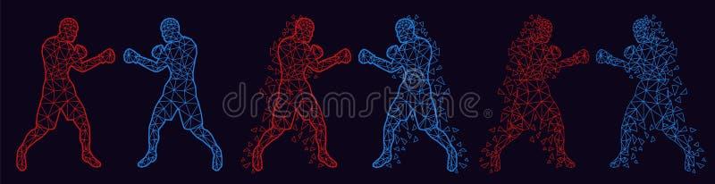 Abstracte boksers die tegen elkaar vechten stock afbeelding